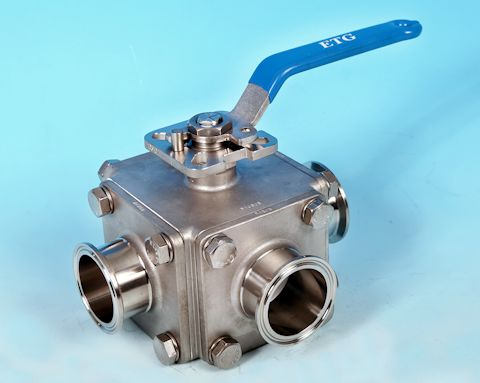 stainless steel 3-Way Sanitary Clamp End Direct Mount Ball Valve