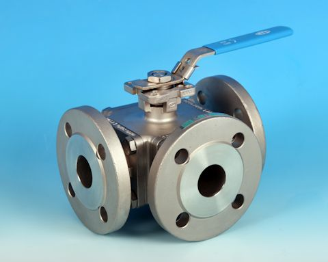 stainless steel 3-Way Direct Mount Flanged PN16/40 Ball Valve